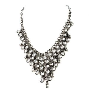 Crystal Bling Bib Statement Necklace Silver tone